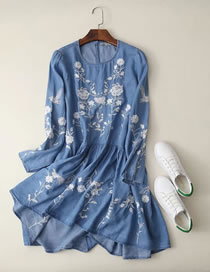 Fashion Light Blue Embroidery Flower Decorated Long Sleeves Dress