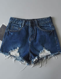 Fashion Dark Blue Pure Color Decorated High-waist Ripped Jeans Shorts