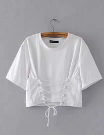 Fashion White Pure Color Decorated Bandage Design T-shirt