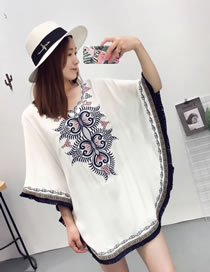 Fashion White Tassel Decorated Bat-wing Sleeves Smock
