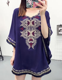 Fashion Navy Tassel Decorated Bat-wing Sleeves Smock