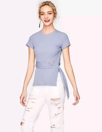 Fashion Blue Pure Color Decorated Short Sleeves T-shirt