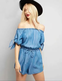 Fashion Blue Pure Color Decorated Off Shoulder Jumpsuit Shirt