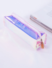 Elegant Purple Tassel Decorated Pure Color Simple Pencil Case