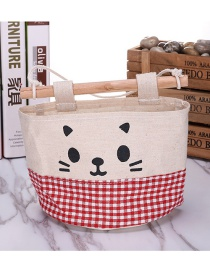 Fashion Red+white Cat Pattern Decorated Pure Color Storage Bags