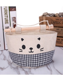 Fashion Black+white Cat Pattern Decorated Pure Color Storage Bags