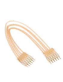 Fashion Gold Color Chain Decorated Pure Color Hair Claw