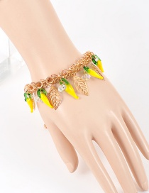 Fashion Yellow Leaf Decorated Color Matching Bracelet
