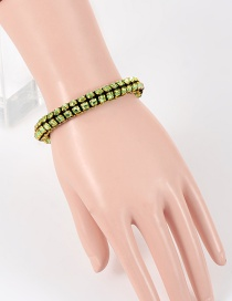 Fashion Green Diamond Decorated Pure Color Bracelet