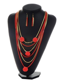 Fashion Red Chain&pom Necklace Color Matching Multi-layer Pom Necklace