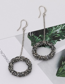 Fashion Black Diamond Decorated Circular Ring Pure Color Earrings