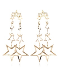 Fashion Gold Color Star Shape Decorated Hollow Out Pure Color Earrings