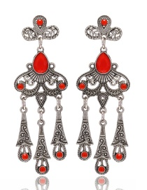 Fashion Red Flower Shape Decorated Hollow Out Pure Color Earrings