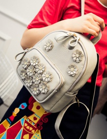 Fashion Gray Flower Decoreated Pure Color Backpack