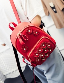 Fashion Red Flower Decoreated Pure Color Backpack