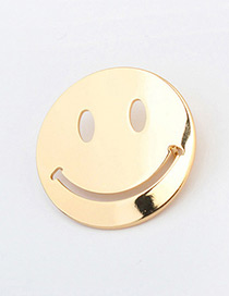 Personality Gold Color Smiling Face Pattern Decorated Simple Round Shape Earrings