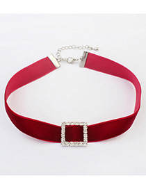 Vintage Red Square Shape Decorated Simple Short Chain Choker