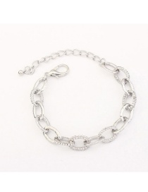 Fashion Silver Color Diamond Decorated Pure Color Simple Chain Bracelet