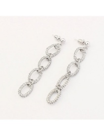 Fashion Silver Color Diamond Decorated Pure Color Simple Long Earrings