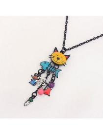 Trendy Multi-color Cat&fish Pendant Decorated Color Matching Necklace