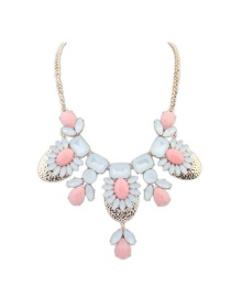 Trendy White+pink Geometric Shape Diamond Decorated Color Mathcing Necklace
