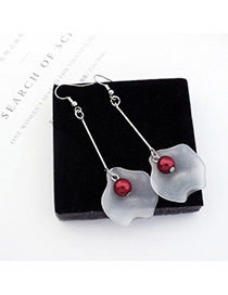 Trendy Silver Color +red Leaf&pearl Shape Decorated Color Mathing Simple Earrings