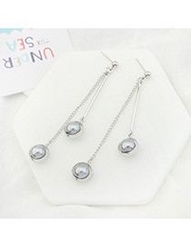 Trendy Silver Color+gray Double Balls Decorated Tassel Design Simple Earrings