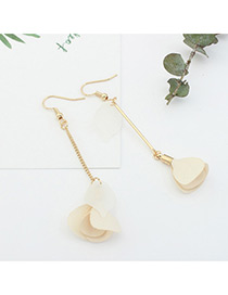 Elegant Beige Flower Pendant Decorated Tassel Design Color Matching Earrings