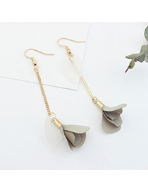 Elegant Liggt Gray Flower Pendant Decorated Tassel Design Color Matching Earrings