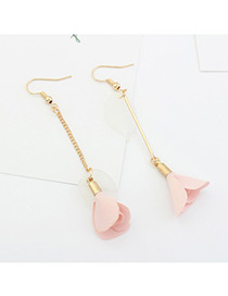 Elegant Pink Flower Pendant Decorated Tassel Design Color Matching Earrings