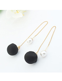 Elegant Black Ball&pearl Decorated Color Matching Simple Long Earrings