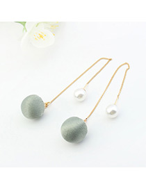 Elegant Green Ball&pearl Decorated Color Matching Simple Long Earrings