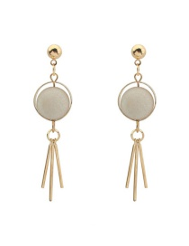 Trendy White Tassel Pendant Decorated Color Matching Simple Earrings