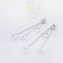 Fashion White Hollow Out Star Pendant Decorated Long Chain Earrings