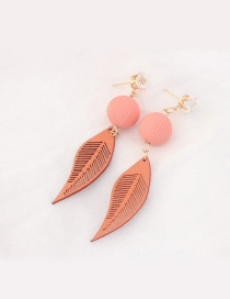 Trendy Pink Leaf Pendant Decorated Color Matching Earrings