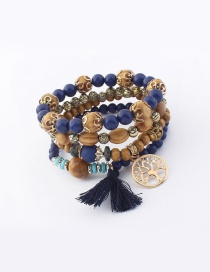 Vintage Navy Tree&tassel Decorated Multi-layer Bracelet