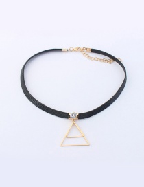 Elegant Gold Color+black Triangle Shape Decorated Color Matching Choker