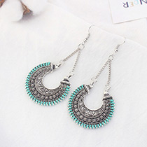 Vintage Blue Flower Shape Decorated Hollow Out Earrings