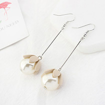 Lovely Beige Flower Shape Decorated Earrings
