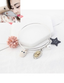 Fashion Multi-color Star&owl Pendant Decorated Simple Bracelet