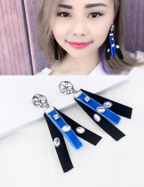 Fashion Black Diamond Decorated Color Mtaching Simple Earrings