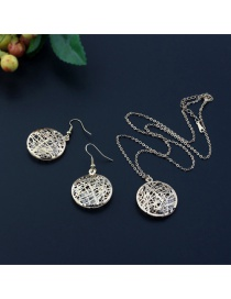 Elegant Gold Color Pure Color Decorated Hollow Out Jewelry Sets