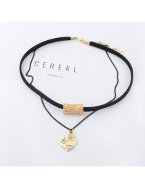 Elegant Black Heart Shape Pendant Decorated Double Layer Choker
