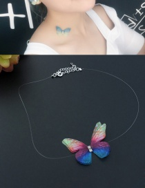 Fashion Multi-color Butterfly&diamond Decorated Simple Choker