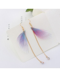Trendy Light Purple Tassel&butterfly Decorated Long Earrings