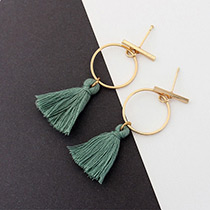 Elegant Green Tassel Decorated Circular Ring Shape Earrings