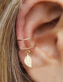 Fashion Silver Leaf Embossed C-shaped Ear Clip